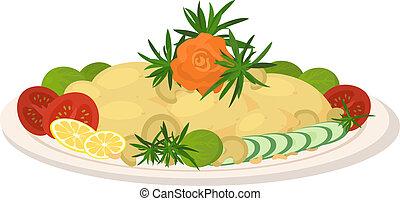verdura, pasto, arrosto, piatto, pietanza