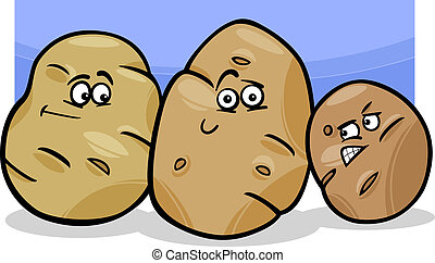 verdura, patate, cartone animato, illustrazione