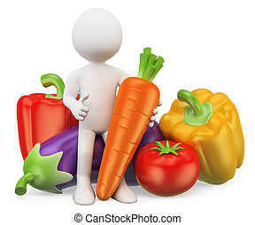verdura, persone., cibo., sano, 3d, bianco