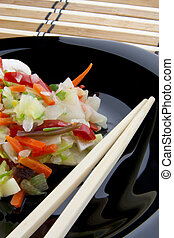 verdura, piastra, nero, cinese, miscelare