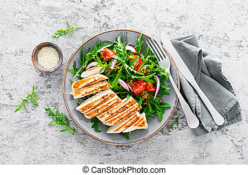 verdura, pollo, verdura, insalata, pomodori freschi, filetto...