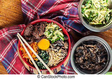 verdura, riso, -, bibimbap, manzo