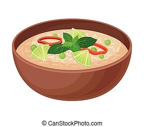 verdura, riso, vettore, ciotola, ceramica, illustrazione,...