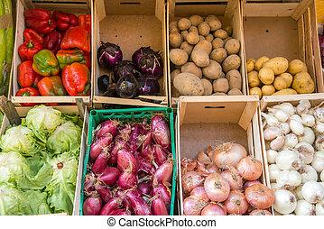 verdura, scatole, vendita