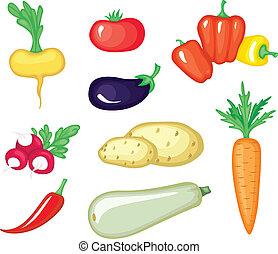 verdura, set, cartone animato