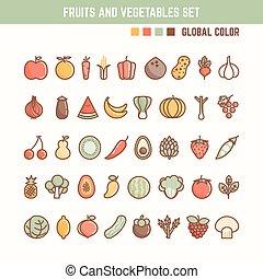 verdura, set, contorno, icona, frutte