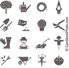 verdura, set, giardino, icone