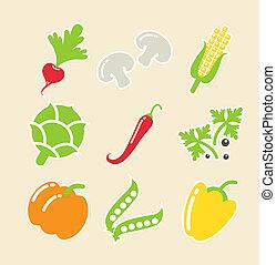 verdura, set, icone