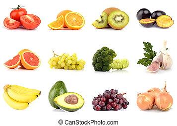 verdura, set, isolato, bianco, frutte
