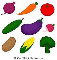 verdura, set, isolato, bianco