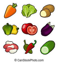 verdura, set, lucido