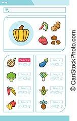verdura, set, vettore, icona