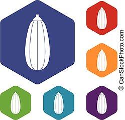 verdura, set, zucchini, icone