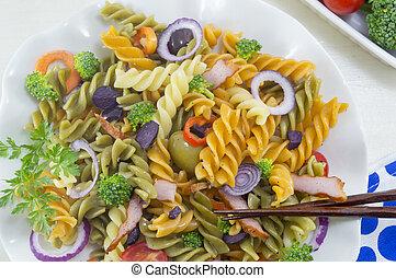 verdura, su, cotto, fresco, bastoncini, servito, pasta, chiudere, pasto