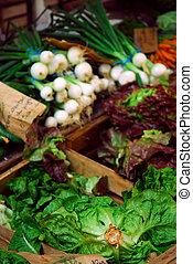 verdura, su, il, mercato