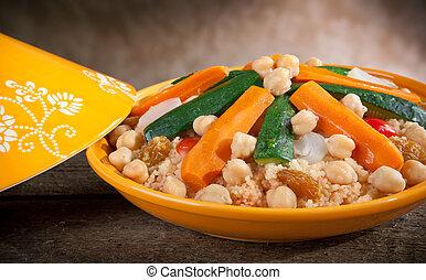 verdura, tajine, con, cous cous
