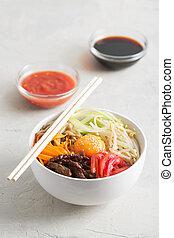verdura, tradizionale, asiatico, piatto, pietanza, riso, bibimbap