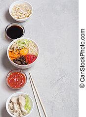 verdura, tradizionale, piatto, pietanza, coreano, riso, cima, bibimbap