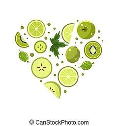 verdura, verde, fresco, vettore, frutte, illustrazione, forma, cuore