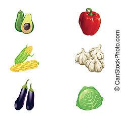 verdura, vettore, collezione