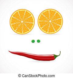 verdura, vettore, illuctration, faccia