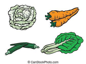 verdura, vettore, illustrazione, assortito