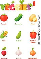 verdura, vettore, set, icona