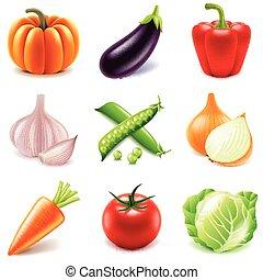 verdura, vettore, set, icone
