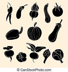 verdura, vettore, set, icons.