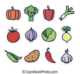 verdura, vettore, set