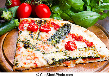 verduras asadas parrilla, pizza