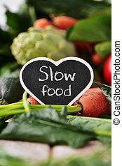 verduras cruas, e, texto, lento, alimento