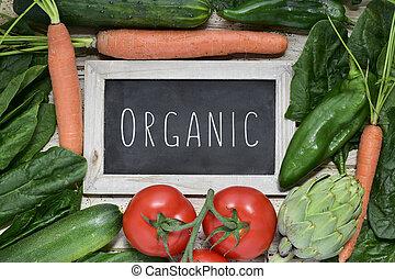 verduras cruas, e, texto, orgânica, ligado, um, chalkboard