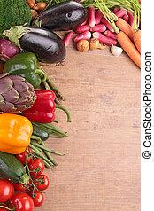 verduras cruas, ligado, madeira