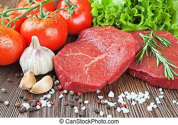 verduras cruas, temperos, steak carne