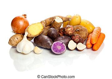 verduras cruas, -, tubers, -, branco, fundo