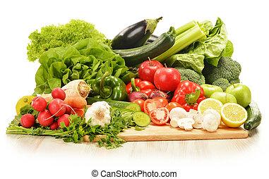 verduras crudas, blanco, aislado, composición