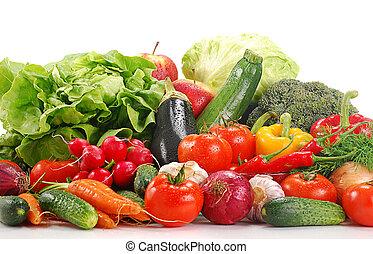 verduras crudas, blanco, aislado