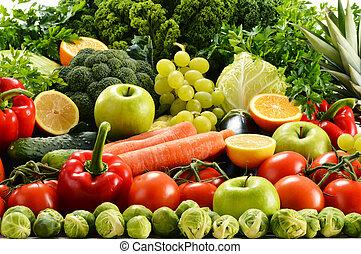 verduras crudas, orgánico, variado