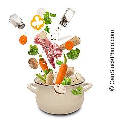 verduras frescas, caer, en, acero inoxidable, olla