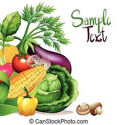 verduras frescas, con, muestra, texto, espacio