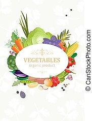 verduras frescas, diseño, su, tarjeta