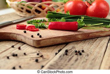 verduras frescas, en, el, cocina, tabla