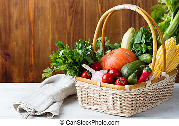 verduras frescas, en, un, basket., copia, space.
