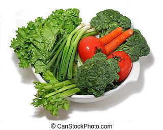 verduras frescas, en, un, tazón