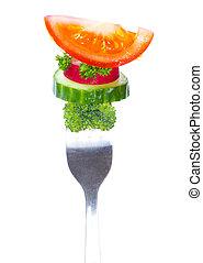 verduras frescas, en, un, tenedor, aislado, blanco, plano de fondo