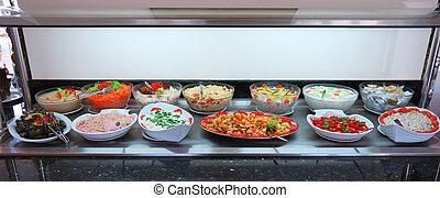 verduras frescas, ensaladas, alimento, barra