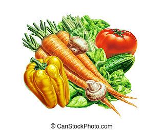 verduras frescas, grupo