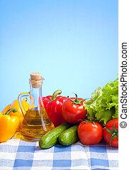 verduras frescas, naturaleza muerta, en, azul, comprobado, mantel