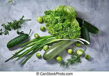 verduras frescas, naturaleza muerta, encima, blanco, textured, plano de fondo, primer plano, plano, lay.